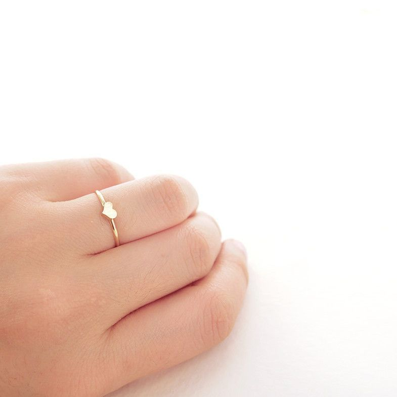 Delicate Simple Brushed Gold Heart Thin Band Ring