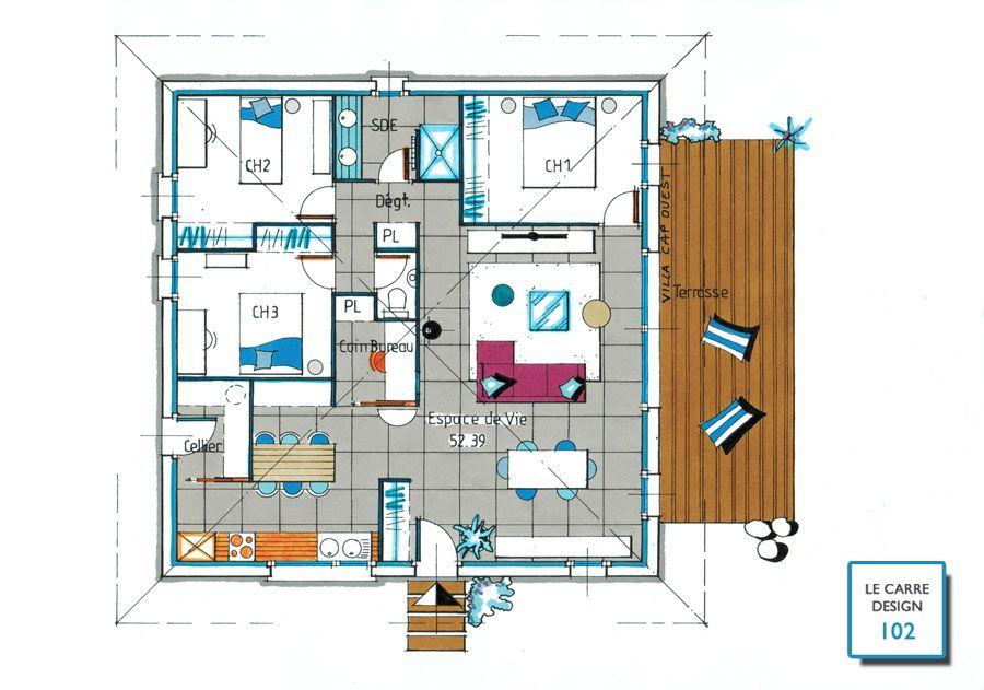 carre-design-102-planjpg (900×631) plans Pinterest