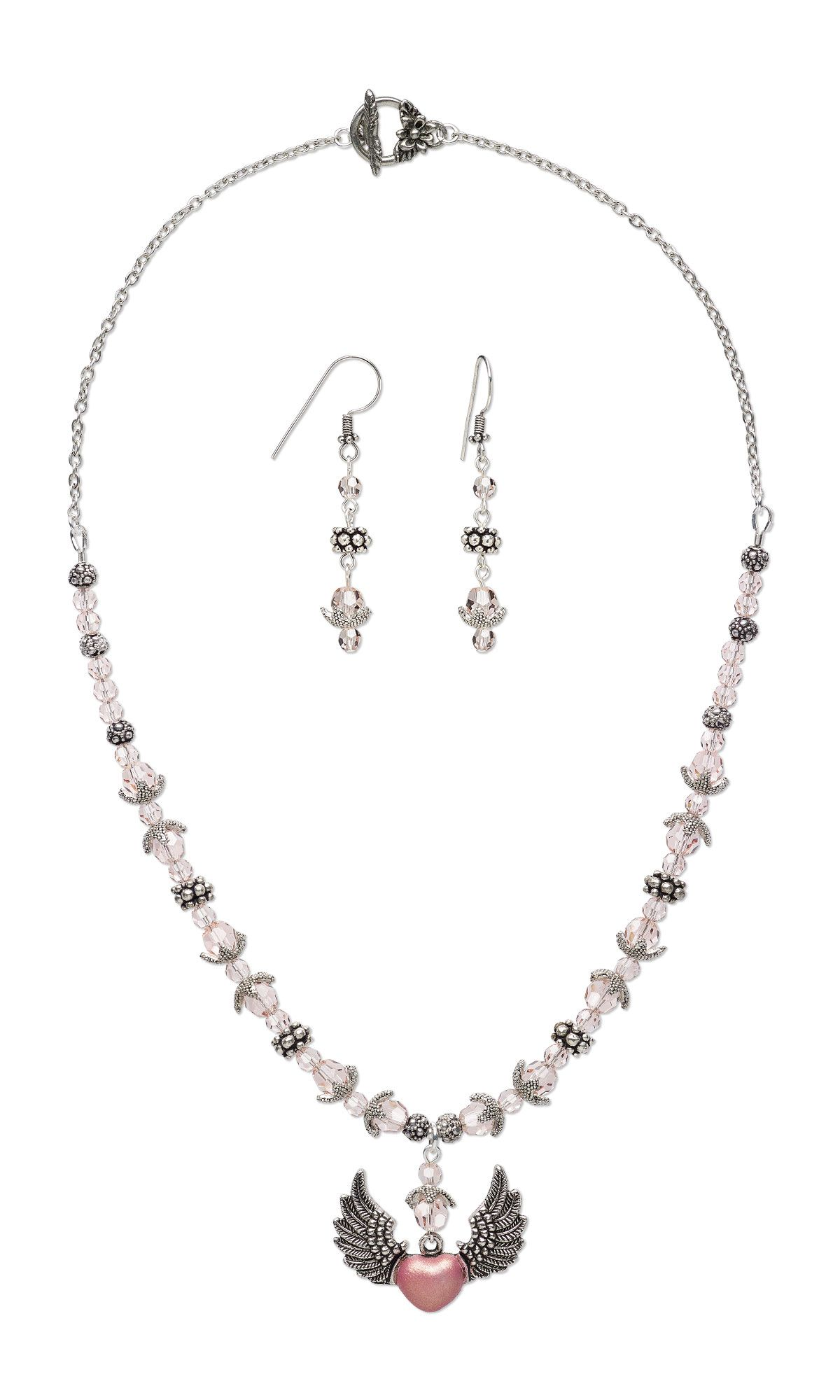Preciosa Czech Crystal Bead Necklace Featuring Heart With