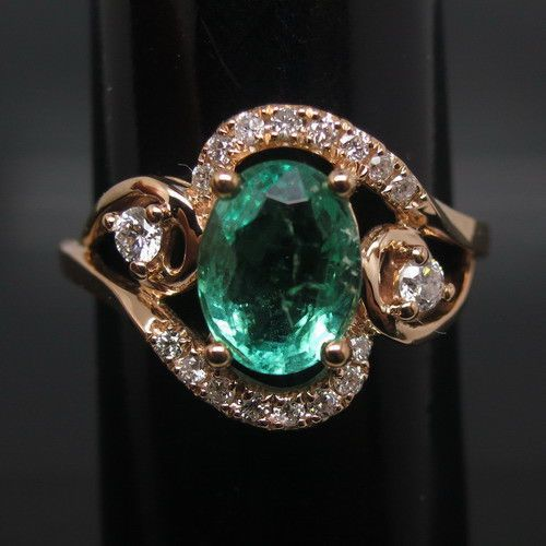 Noble 1.28Ct Solid 18k Rose Gold Natural Diamound Colombia Emerald Wedding Ring  #diamondmounts #SolitairewithAccents