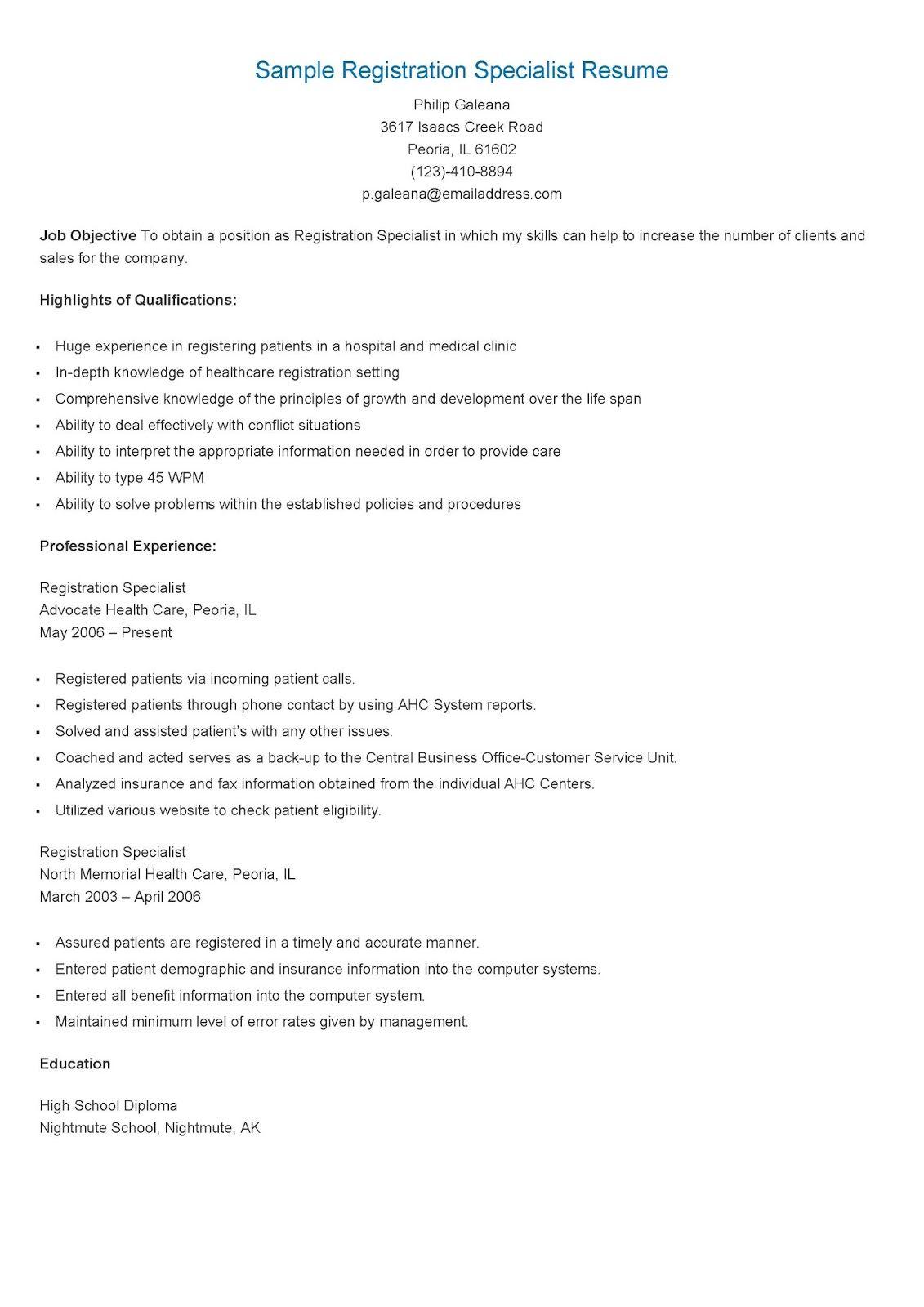 Sample Registration Specialist Resume | resame | Pinterest