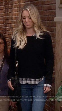 3dccc6455517d Penny s black sweater with plaid shirt on The Big Bang Theory. Outfit  Details  https