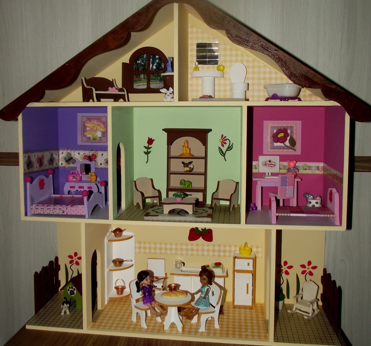 Casa De Boneca Completa - Bonecas Polly - Mdf - R$ 249,99 no ...