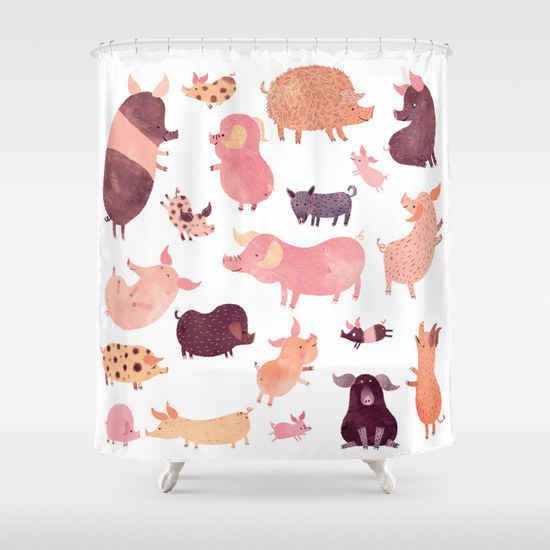 The Pig Pig Pig Shower Curtain Curtains Bathroom Kitchen
