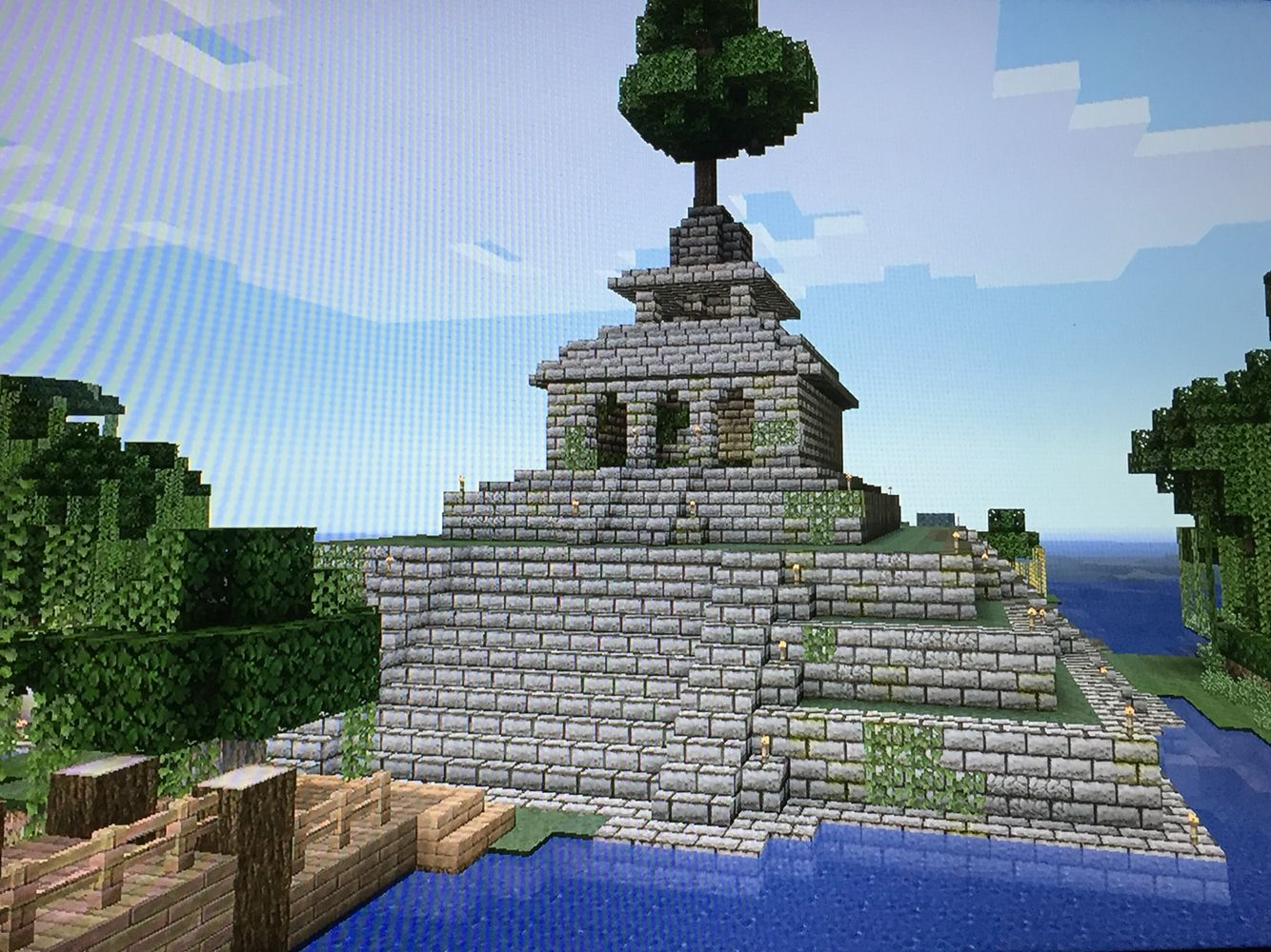Player Created Jungle Temple 34 By 34 Blocks Stone Brick Top Of