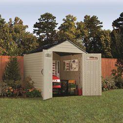 Rubbermaid Resin Storage Building 7 W X 7 L From Menards 549 00 Backyard Storage Sheds Large Backyard Landscaping Backyard