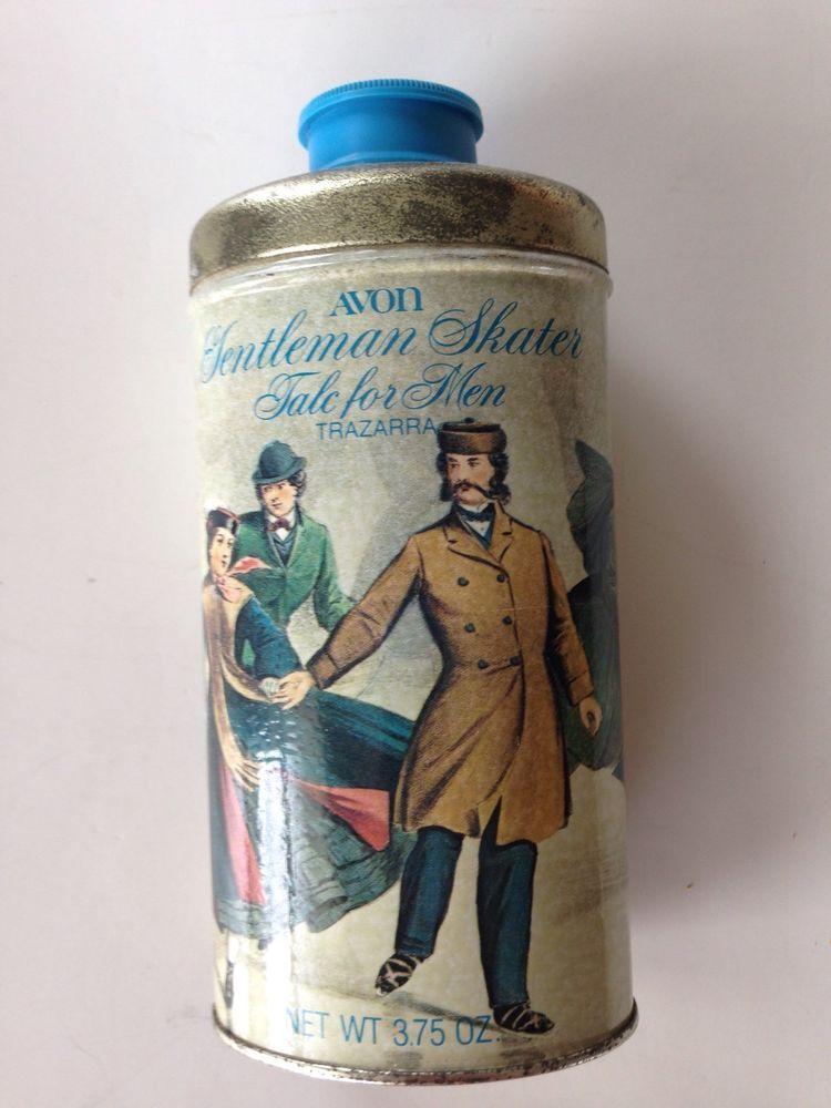 Vintage Avon Gentleman Skater Talc for Men in Metal Tin 3/4 full | eBay