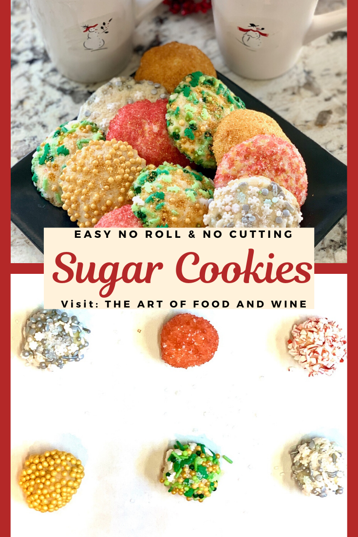 Easy Drop Sugar Cookies are the answer to quick and pretty holiday cookies. Great any time of the year! No rolling dough and no cookie cutters needed. This sugar cookie recipe only needs 30-minutes to chill and then you are ready to decorate and bake. Grab your favorite sprinkles!#sugarcookies #holidaybaking #holidaycookies #baking #cookies #dropcookies #sprinkles #sprinklecookies #vanilla #vanillapaste #sugarcookierecipe #easysugarcookies #sugarcookieeasy #christmascookies #christmasbaking