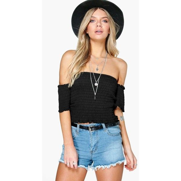 Boohoo Julia Shirred Off The Shoulder Top (740 PHP) ❤ liked on Polyvore featuring tops, black, off shoulder crop top, off the shoulder crop top, long sleeve jersey, crew neck crop top and high neck crop top