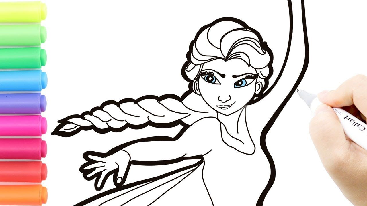 Coloring Elsa Frozen Disney Coloring Book Page Glitter Elsa How To Draw In 2020 Coloring Books Easy Drawings Elsa Frozen