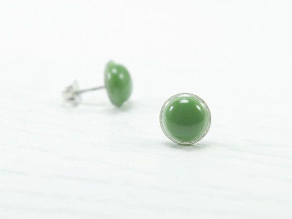 Olive Green Stud Earrings Small Studs Oil Ear By Biesge 13 90