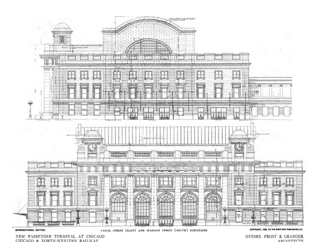 the elevation drawings for the chicago and northwestern terminal the elevation drawings for the chicago and northwestern terminal train station in chicago
