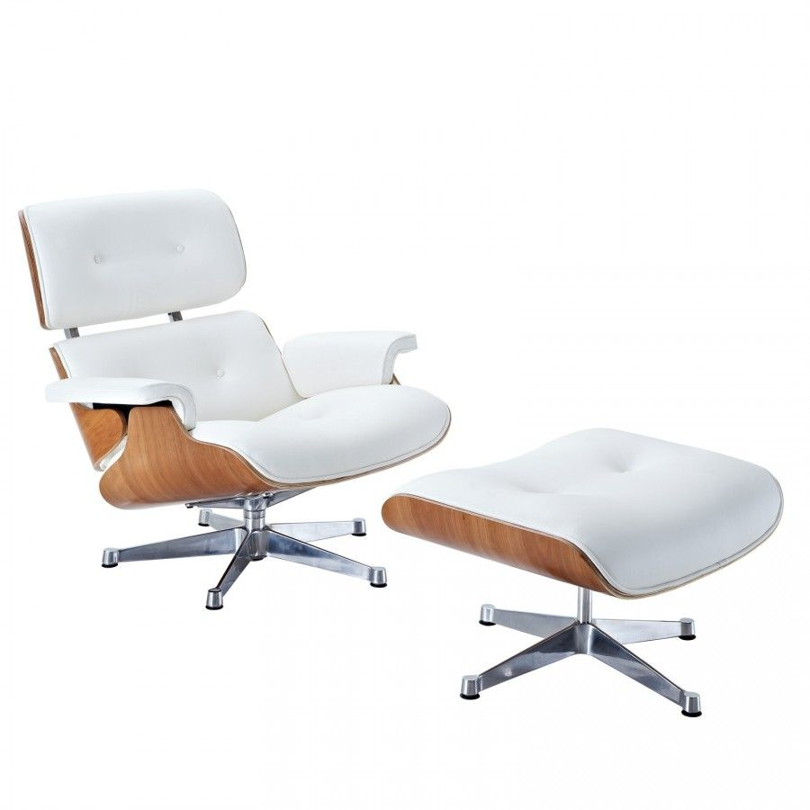 Eames Style Lounge Chair And Ottoman   Rosewood U0026 White Leather