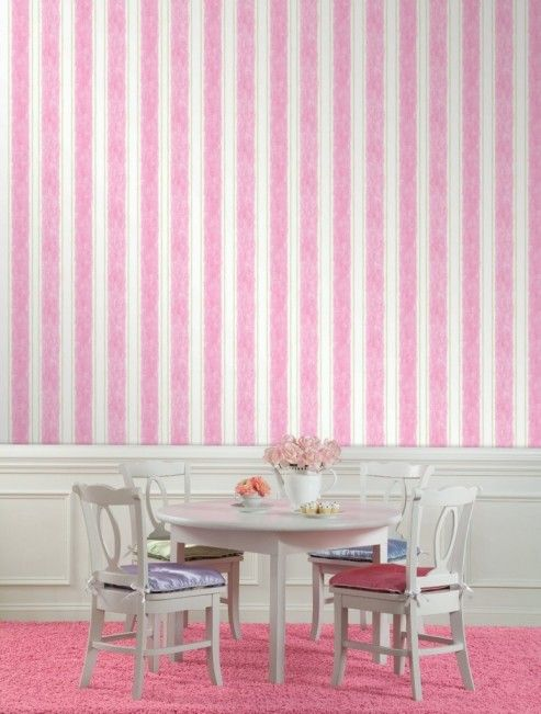 wallpaper pink and white stripe | Pink Interior Design Ideas ...