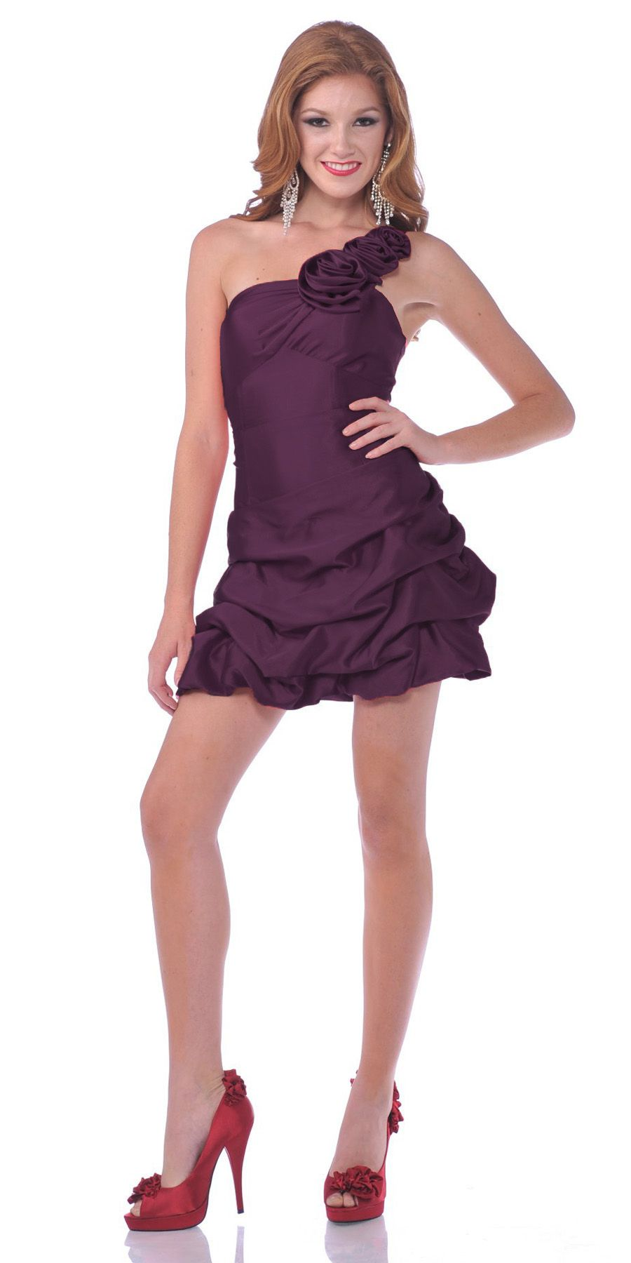 CLEARANCE - Sexy One Shoulder Purple Cocktail Party Dress Pick Up ...