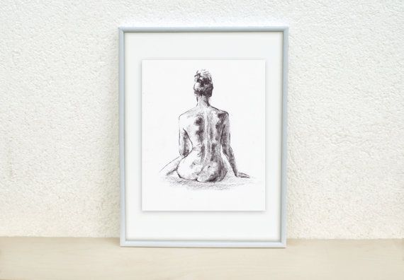Female Nude drawing. Nude art. Minimalistic nude. by madareli