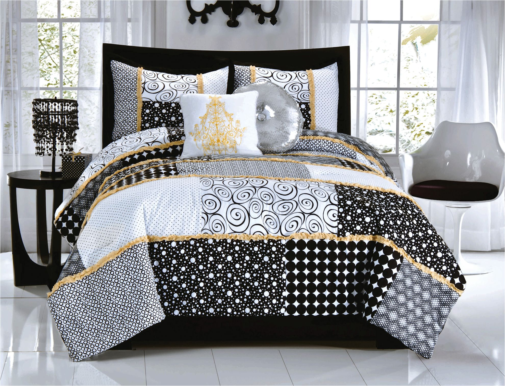 Elegant Black White Dot Scroll Bedding Twin Full Queen Comforter Set Gold Yellow Ruffle