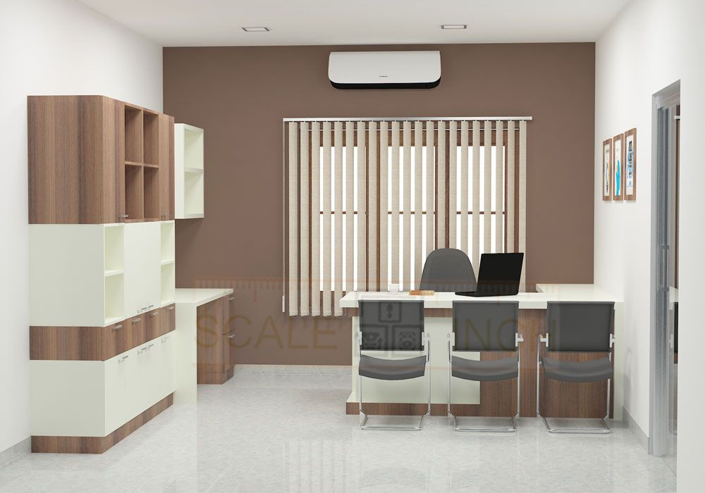 Modern Office Cabin With Clutter Free Furniture Made Up Of