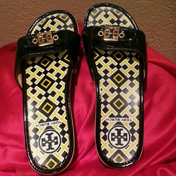 TORY BURCH  Dixon  Slide 7.5 Tory Burch black patent leather slide clogs. Basically brand new  but without  the box. Please examine the pictures carefully. This clogs has no scuffing, no scratches. Heel  height  is  1.5 Additional  pictures can be requested. Tory Burch Shoes