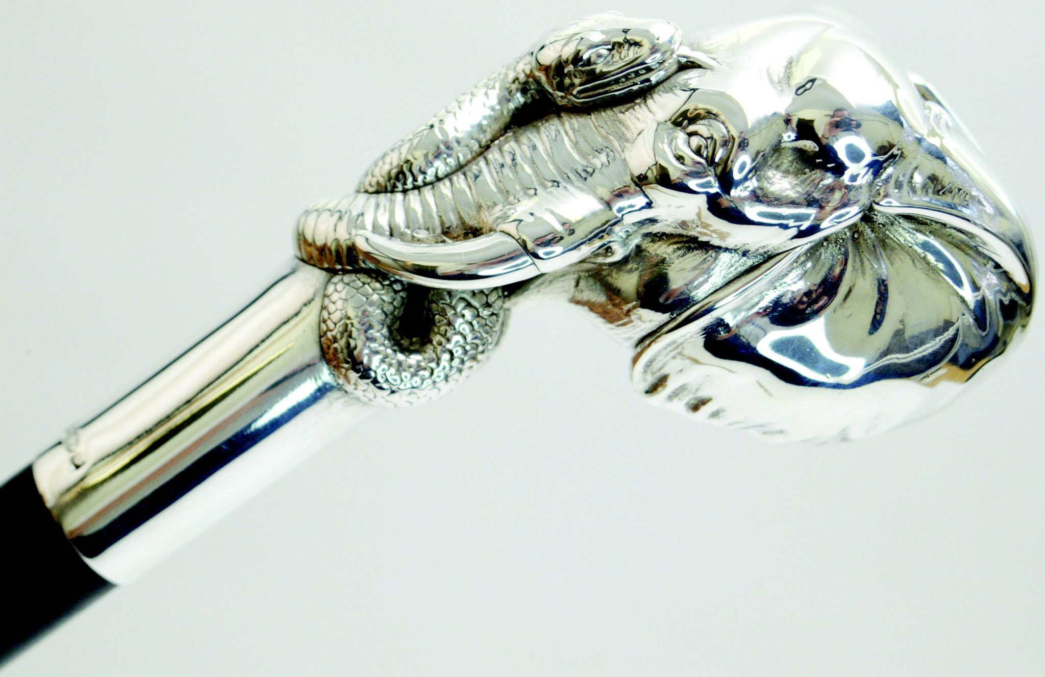 STERLING SILVER ELEPHANT AND SNAKE DRESS CANE BY SWAINE ADENEY BRIGG LTD