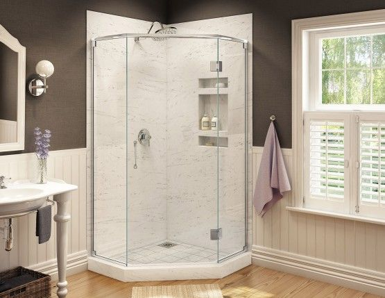 Redi Neo Neo Angle Shower Pan With Corner Drain 36 D X 36 W With Images Neo Angle Shower Neo Angle Shower Enclosures Neo Angle Shower Doors