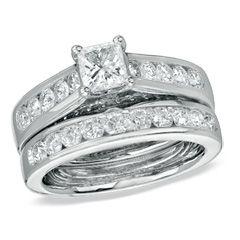 2 CT. T.W. Princess-Cut Diamond Bridal Set in 14K White Gold #wedding #ring #engagement