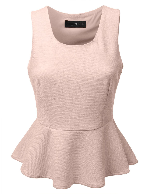 Womens Basic Scoop Neck Sleeveless Peplum Top with Stretch   Blusas ...