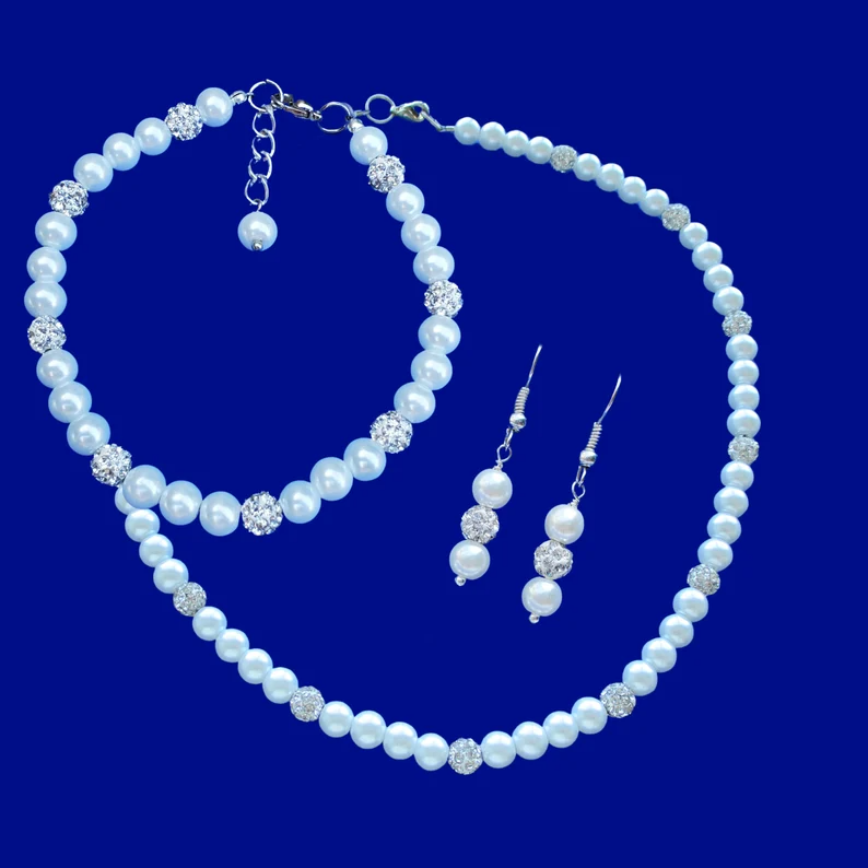 Day Of Gifts For Bride Wedding Morning Gift For Bride Night Etsy Pearl Jewelry Sets Crystal Pearl Jewelry Etsy Finds Jewelry