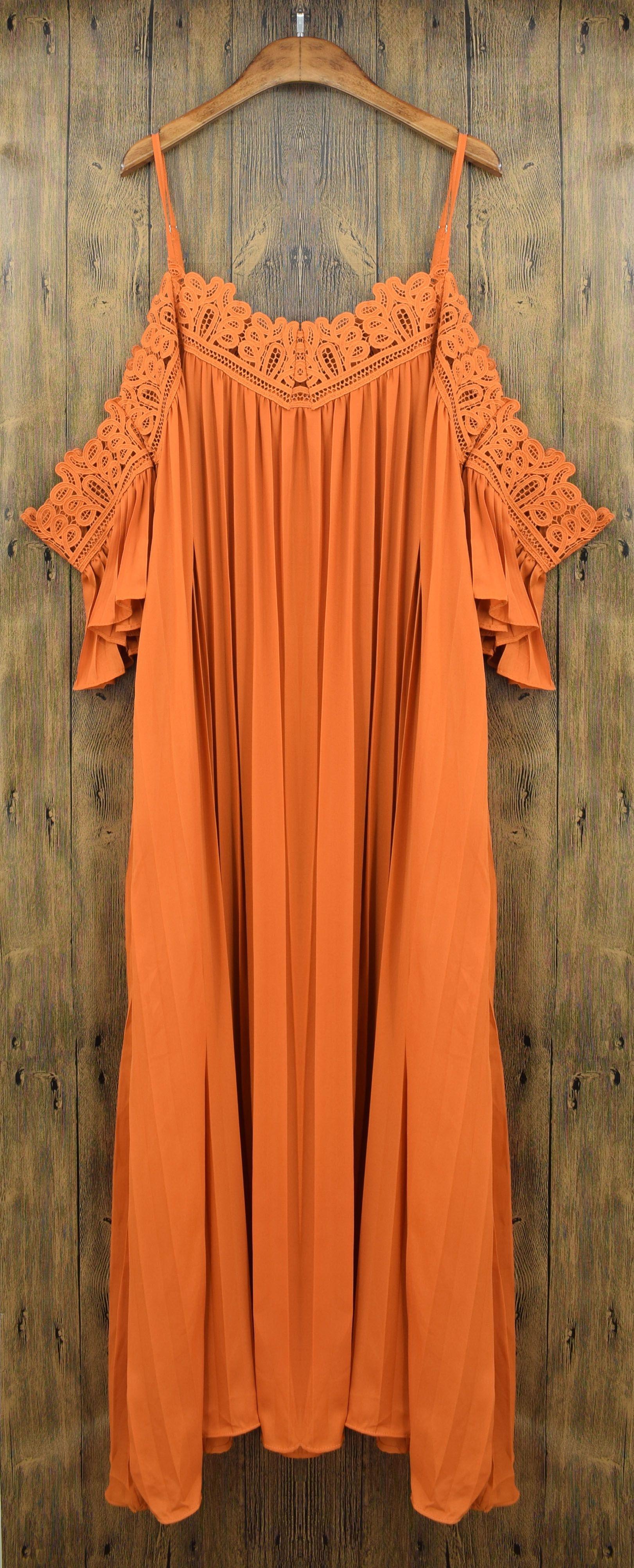 Spaghetti strap off shoulder lace splice maxi pleated dress oasap