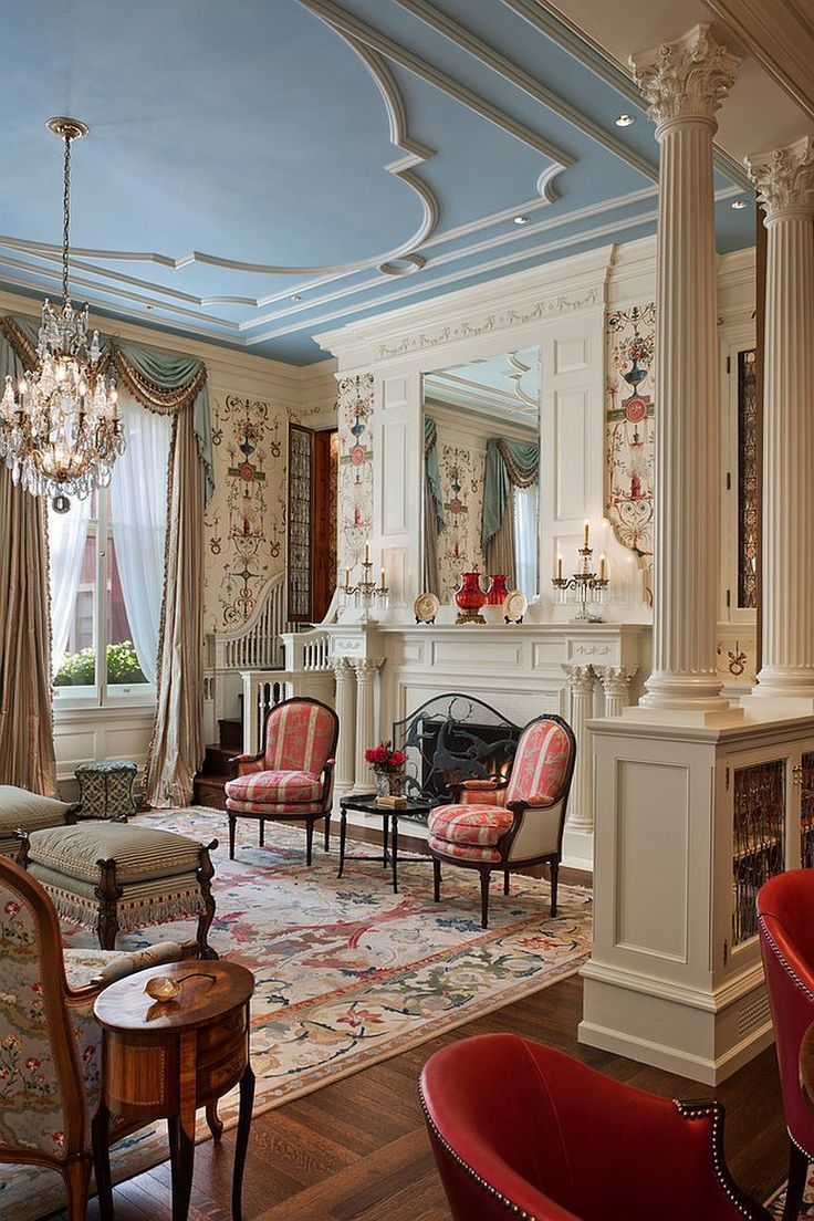 Photo of Beautiful living room with Victorian flair and a touch of blue and pink