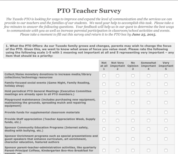 Pto Teacher Survey  Pta Survey    Teacher Survey