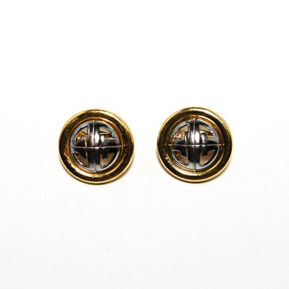 Givenchy Couture Logo Earrings Silver and Gold Tone Clip Petite Size