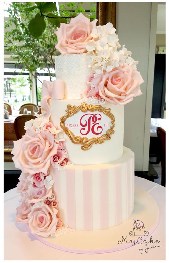 Soft Pastel Pink Wedding Cake By Hopechan Httpcakesdecorcom - Pastel Pink Wedding Cake