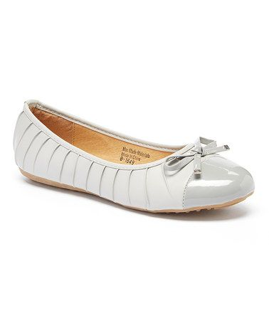Love this Gray Ribbed Bow Ballet Flat on #zulily! #zulilyfinds