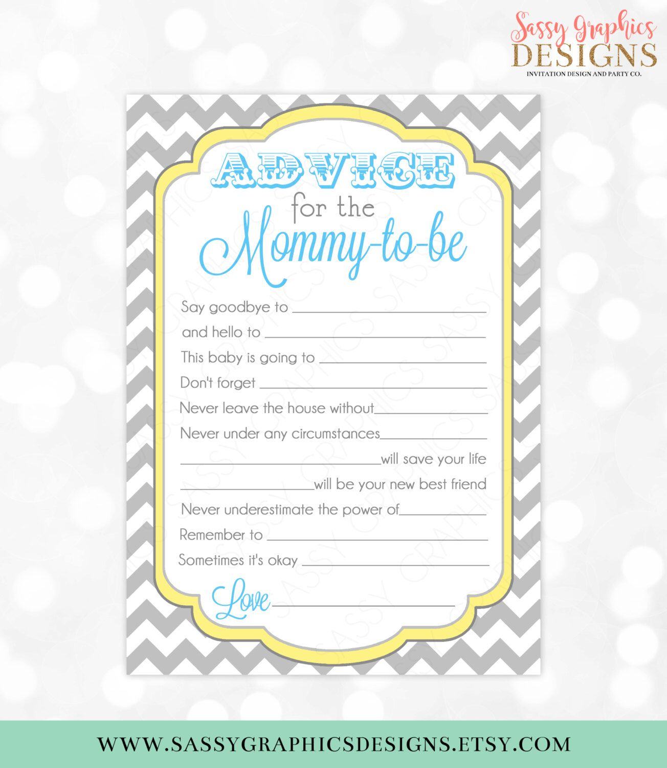 Blue Advice Card Chevron Yellow Gray Boy Baby Shower Advice