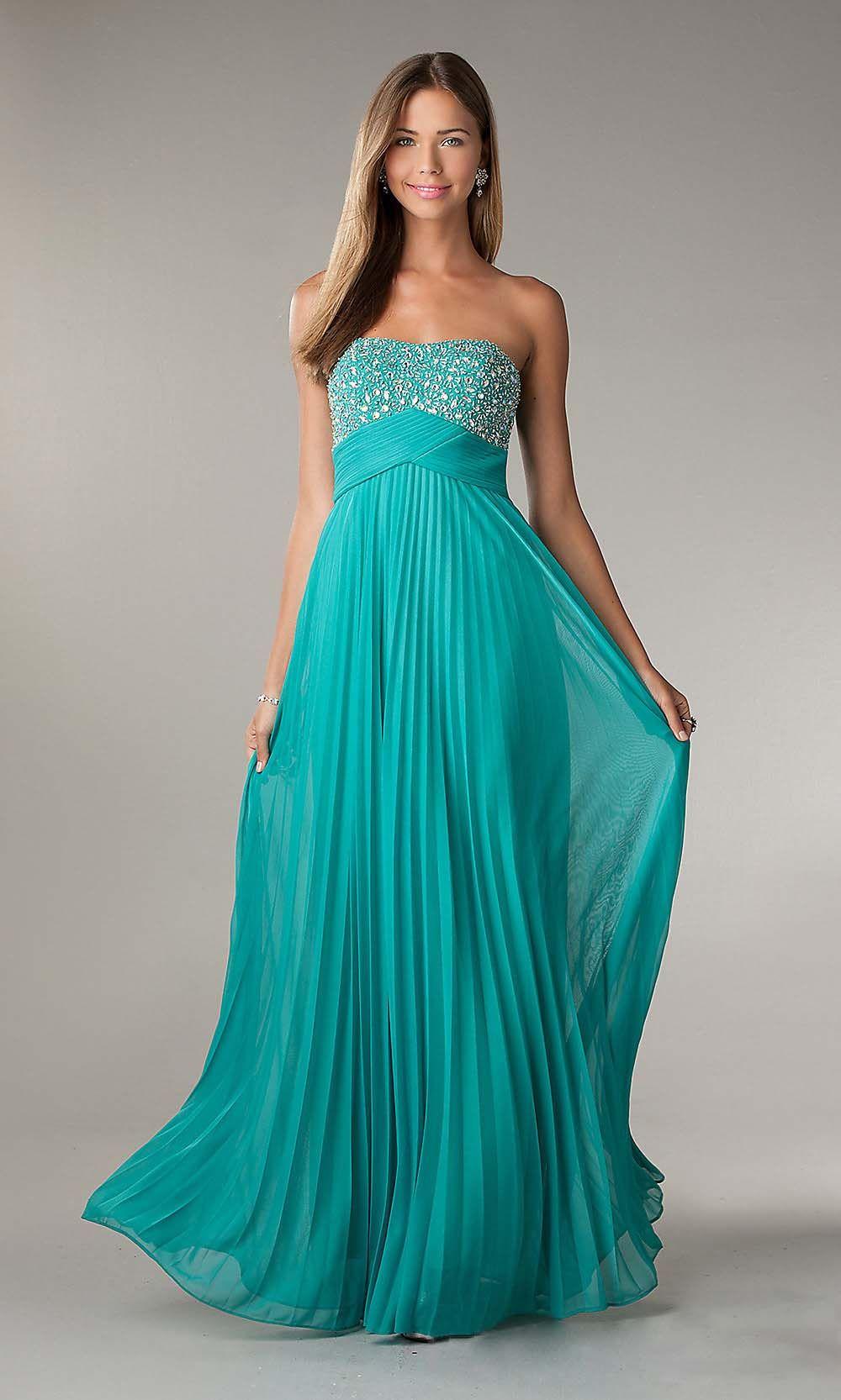 blue prom dress, strapless prom dress, long prom dress, chiffon ...