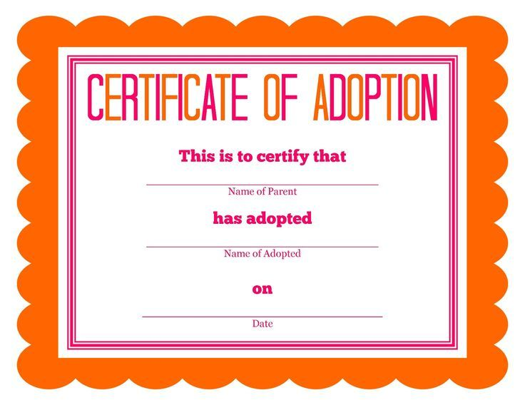 Pet Adoption Certificates Printable - Google Search | Birthday