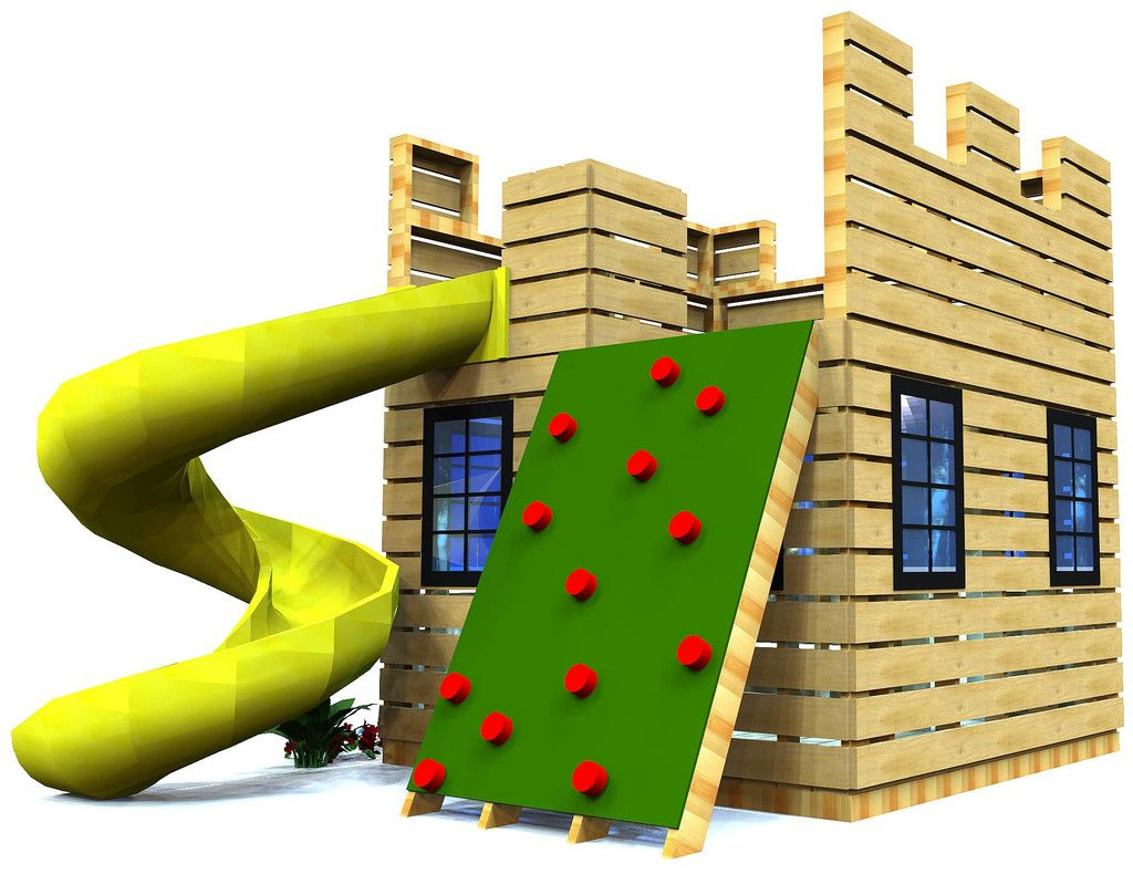 wooden castle playfort w/ slide and rock wall for kids
