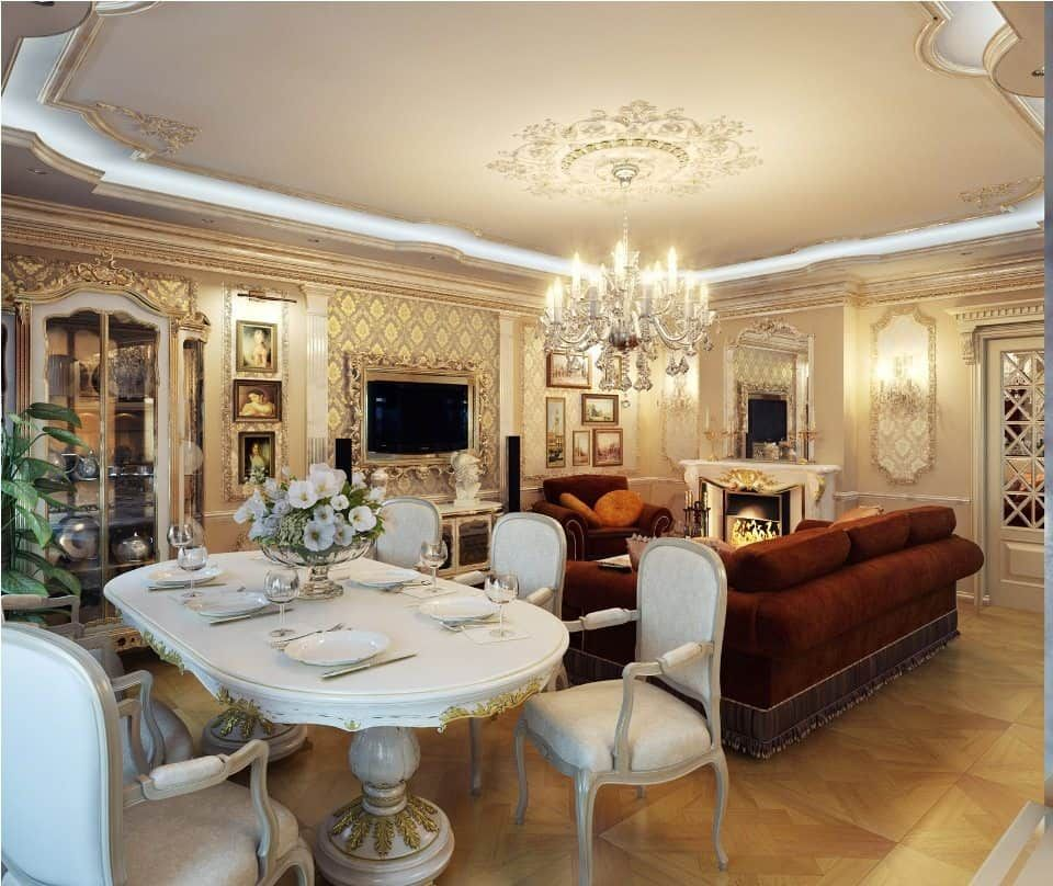 Classic Royal White Dining Room Furniture Design Ideas Simple