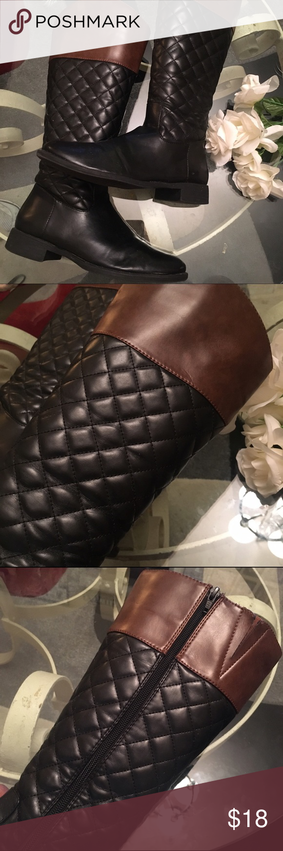 Woman's kohls Riding boots Good used condition! Has Some wear. Sole in excellent Condition! Boots have slight creasing (not noticeable when worn) . Have a few scuffs on toes!  One boot has a small area where a crease is very prominent! Plz refer to pics! Price reflective of wear! khols Shoes