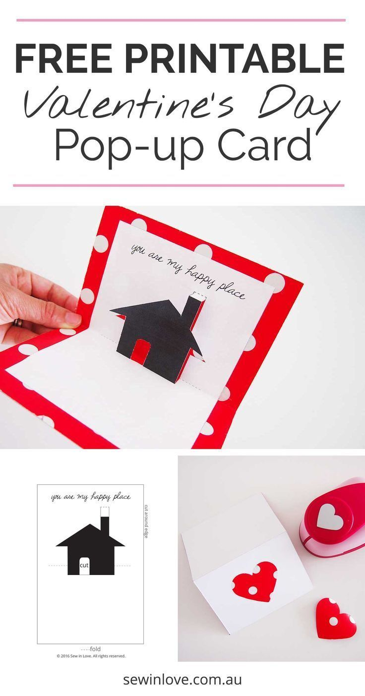 Free Valentines Day Printable Card: Cute Pop-up | Home-made ...