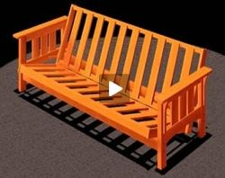 Futon, Sofa Bed   Craftsman Style (Video), Free Woodworking Plans Projects  Patterns