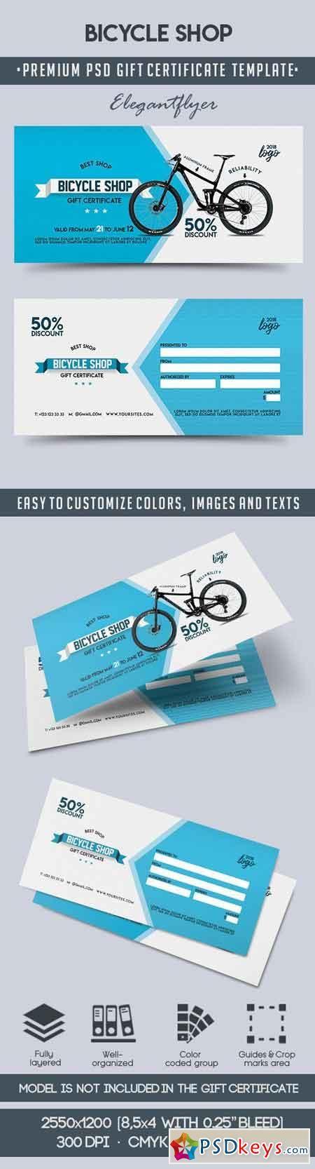 Bicycle Sales – Premium Gift Certificate PSD Template | de