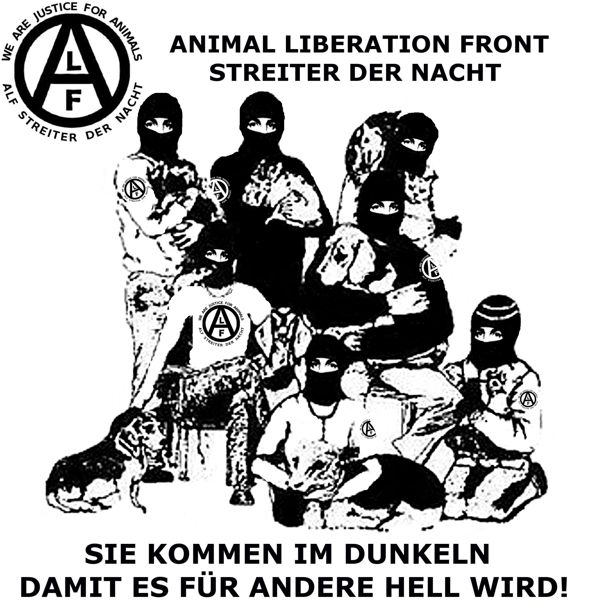 Animal liberation front alf streiter der nacht pinterest - Front de liberation des nains de jardins ...