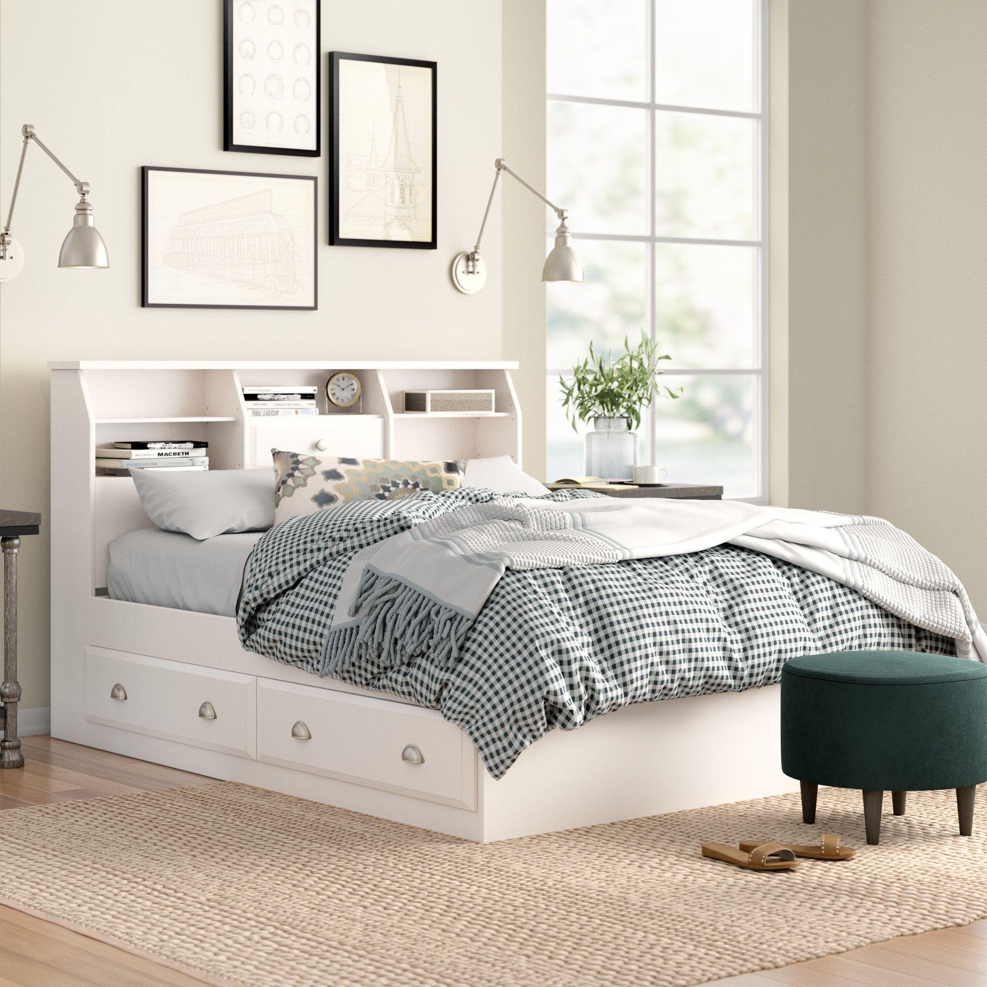 Olney Storage Platform Bed Platform bed, Bookcase