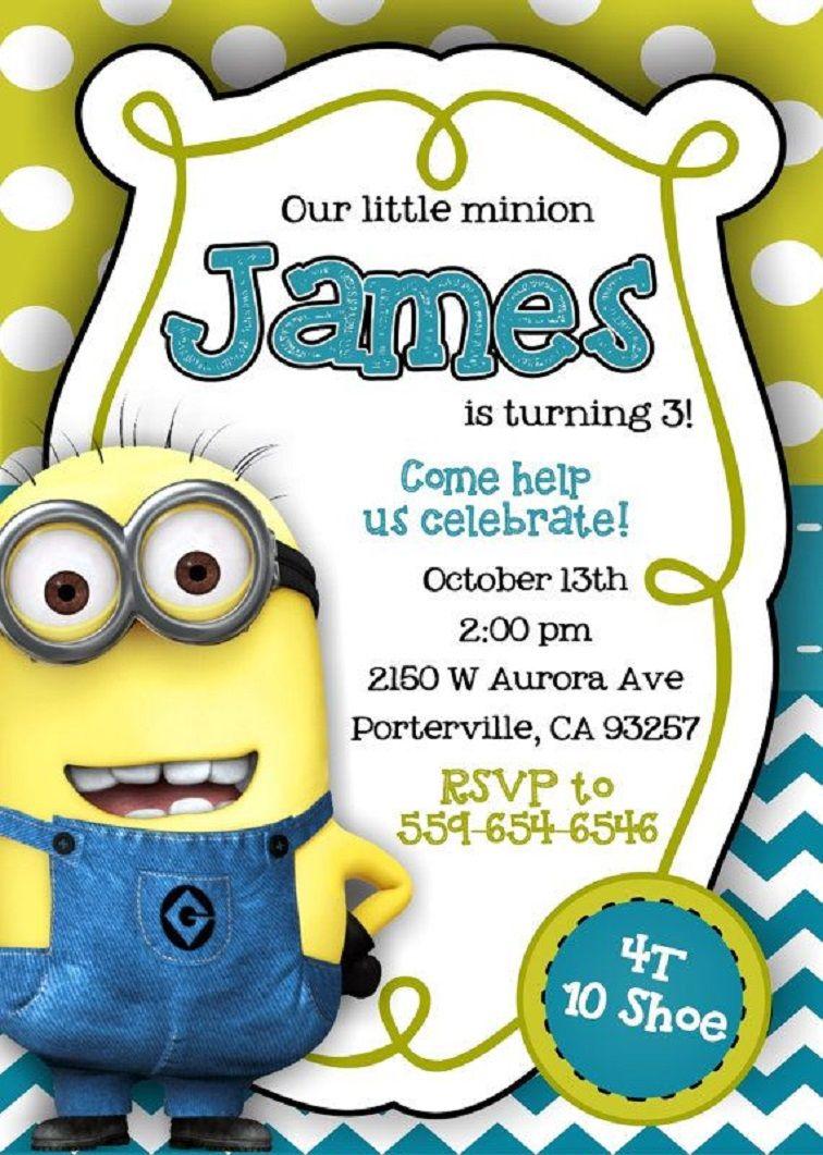 Minion Birthday Invitations Blank Party Invitation Card In