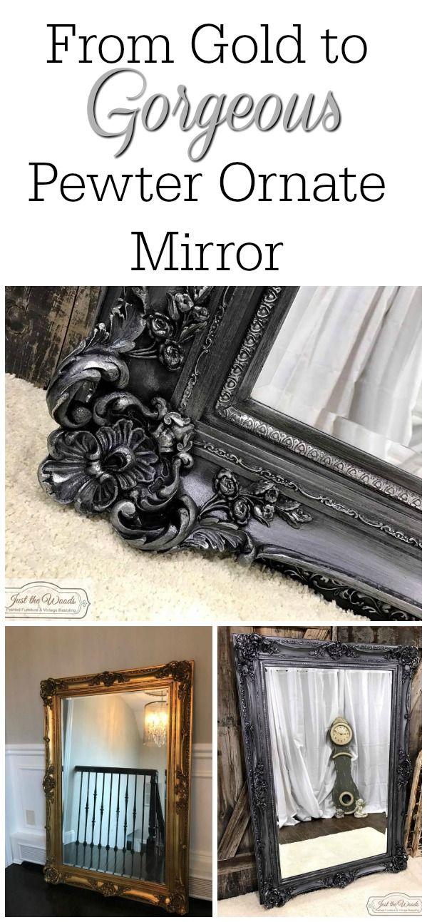 Ornate Mirror Painted Metallic Pewter Ornate Mirror Mirror Frame Diy Painting Mirror Frames