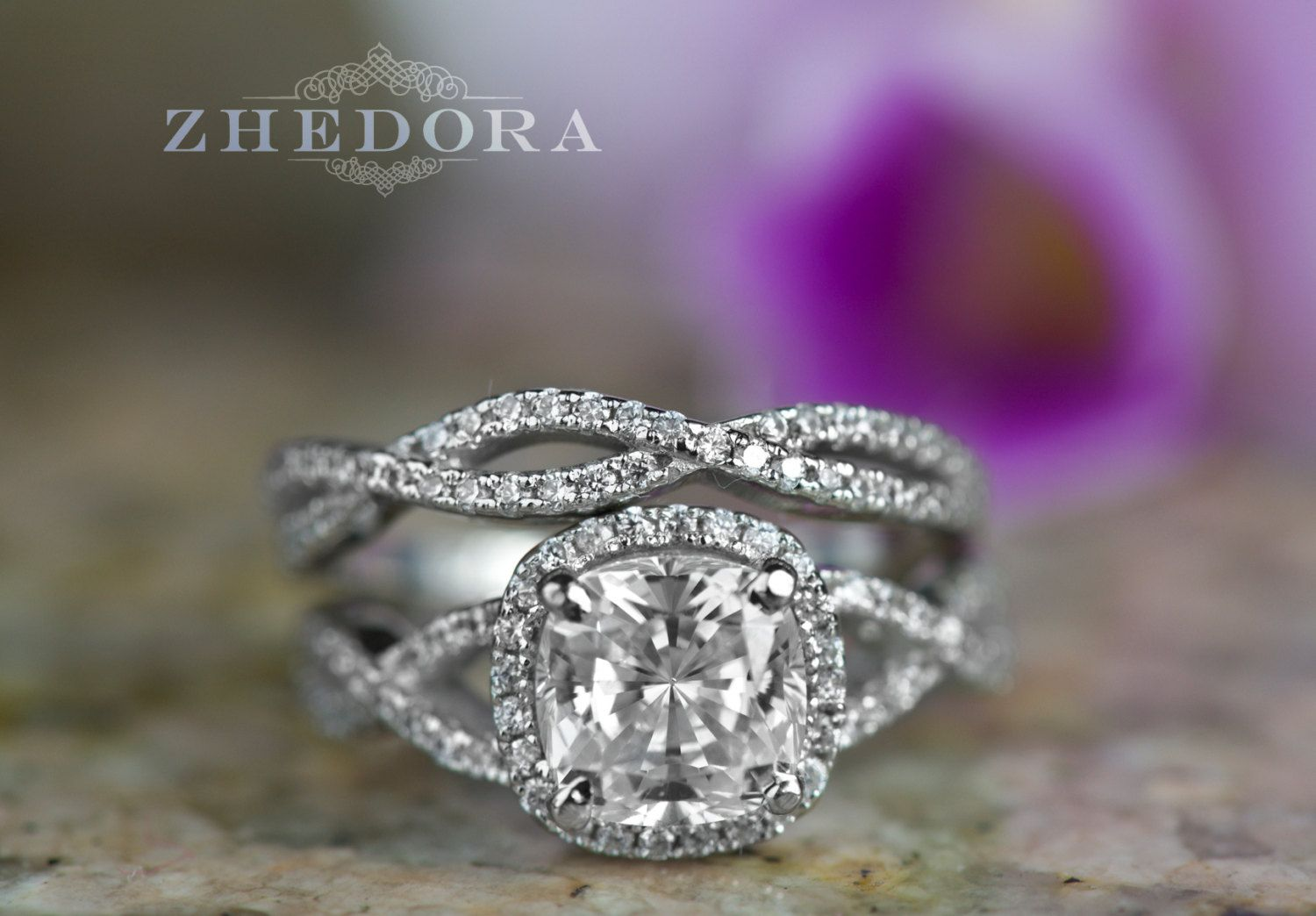 ct radiant cushion cut engagement ring bridal set in solid k