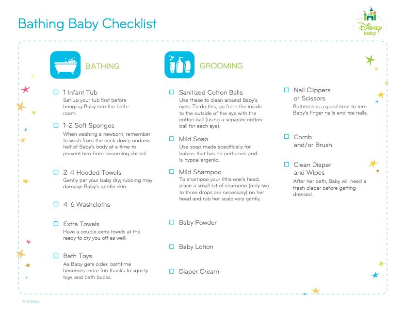Bathing Baby Checklist  Bathtime    Baby Checklist
