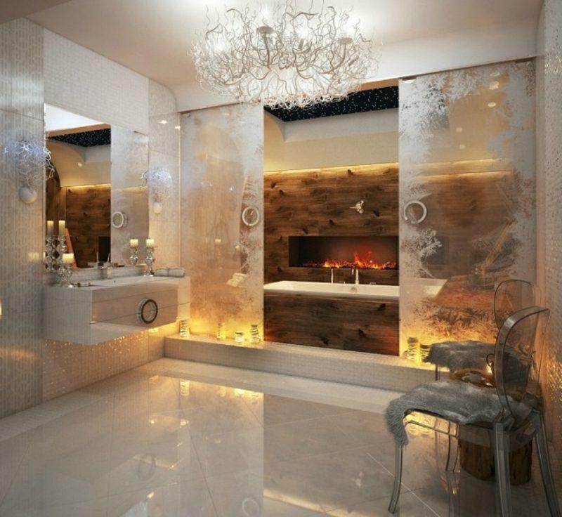 luxus badezimmer kamin indirekte beleuchtung prachtvolles ambiente ... - Luxus Badezimmer Ideen